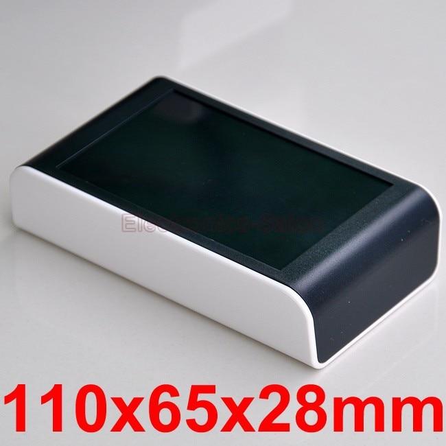 Desktop Instrumentation Project Enclosure Box Case, White-Black, 110x65x28mm.