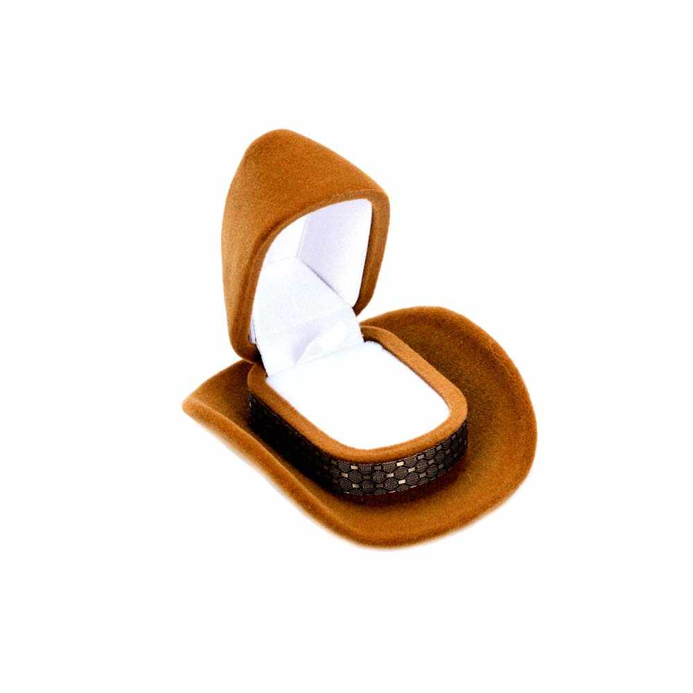 1 Pcs Fashion Creative Cowboy Hat Shape Rings Box Velvet Jewelry Display Box Storage Case wedding Packaging Display