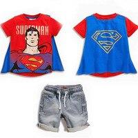男の子服セットファッション子供コスプレ衣装半袖tシャツ+ショーツスーパーマン綿子供スーツroupasティスmenino
