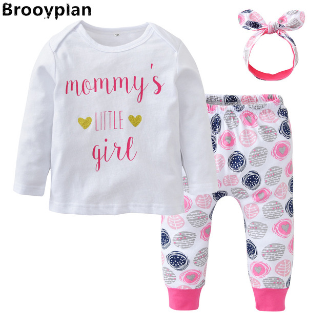 25db2df41 Newborn Baby Girls Clothes Cotton Long Sleeve Letter Mommy s Little ...