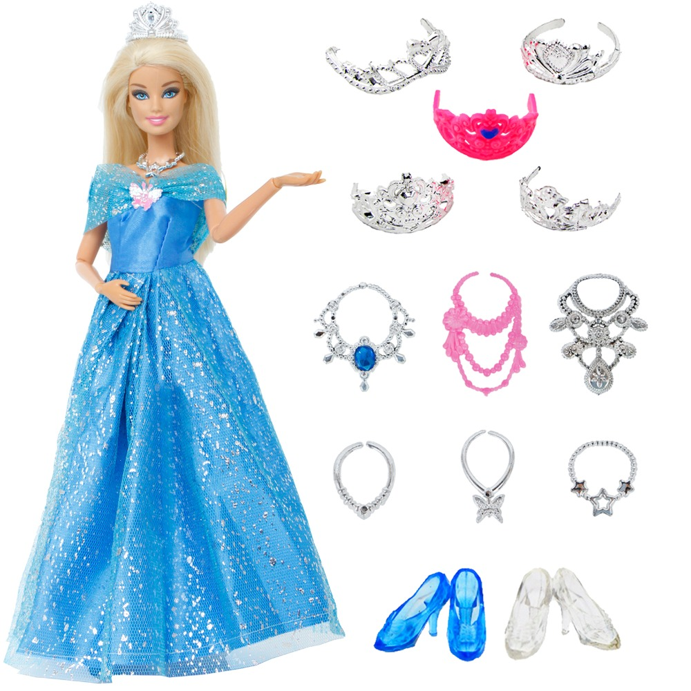 14 Pcs/Lot Gift Set = 1x Princess Cinderella Dress + 13x Accessories Crown Necklace Shoes Dancing Party Clothes For Barbie Doll
