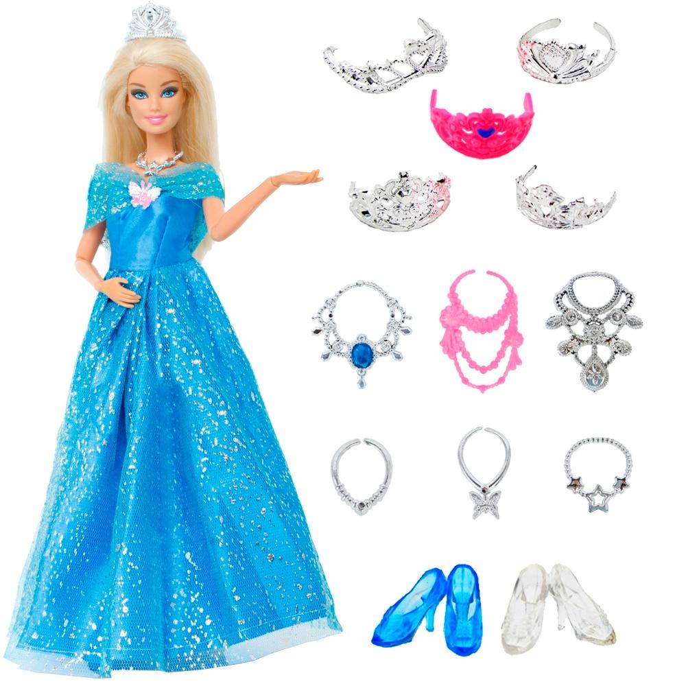 14 Pcs/Lot Gift Set = 1x Princess Cinderella Dress + 13x Accessories Crown Necklace Shoes Dancing Party Clothes For Barbie Doll