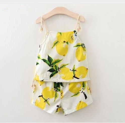 Girls Boys Clothing Sets 2016 Brand Kids Clothing Sets Lemon Fruit Design Sleeveless T-shirt+ Shorts 2Pcs Clothes