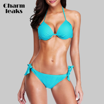 Charmleaks Women Bikini Set Halter Swimwear Solid Color Swimsuit Side Bandage Bathing Suit Beachwear Push Up Sexy Bikini charmo women bikini set halter swimwear solid color swimsuit side bandage bathing suit triangle beachwear sexy bikini
