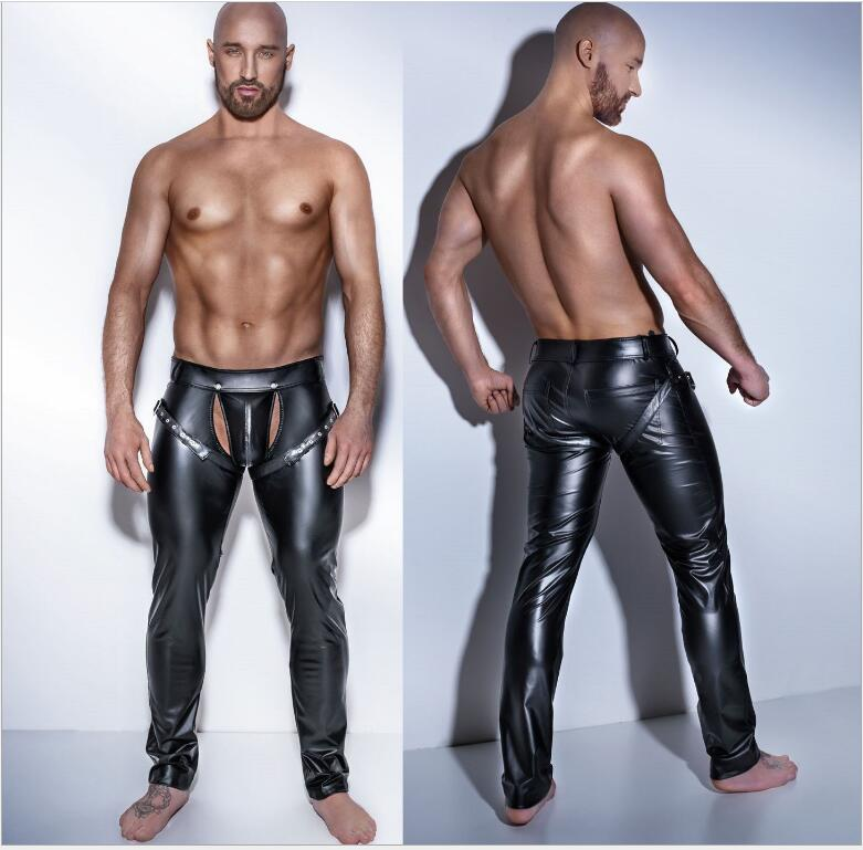 Male Sexy Gothic Leggings for Men Latex Wetlook Punk Trousers DS Club Costume Gay Fetish Erotic Lingerie Disfraces Adultos