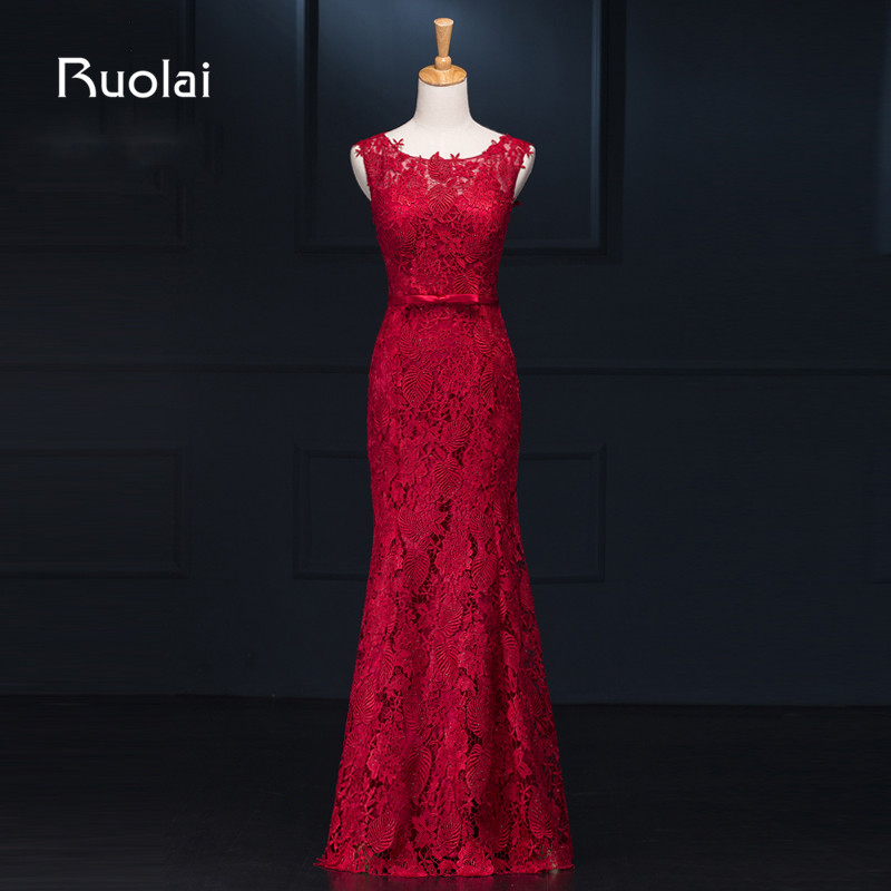 Real Photo High Quality Red Prom Dresses 2019 Lace Sash Crystal Mermaid Evening Dresses Long Party Dress Robe De Soiree FE69