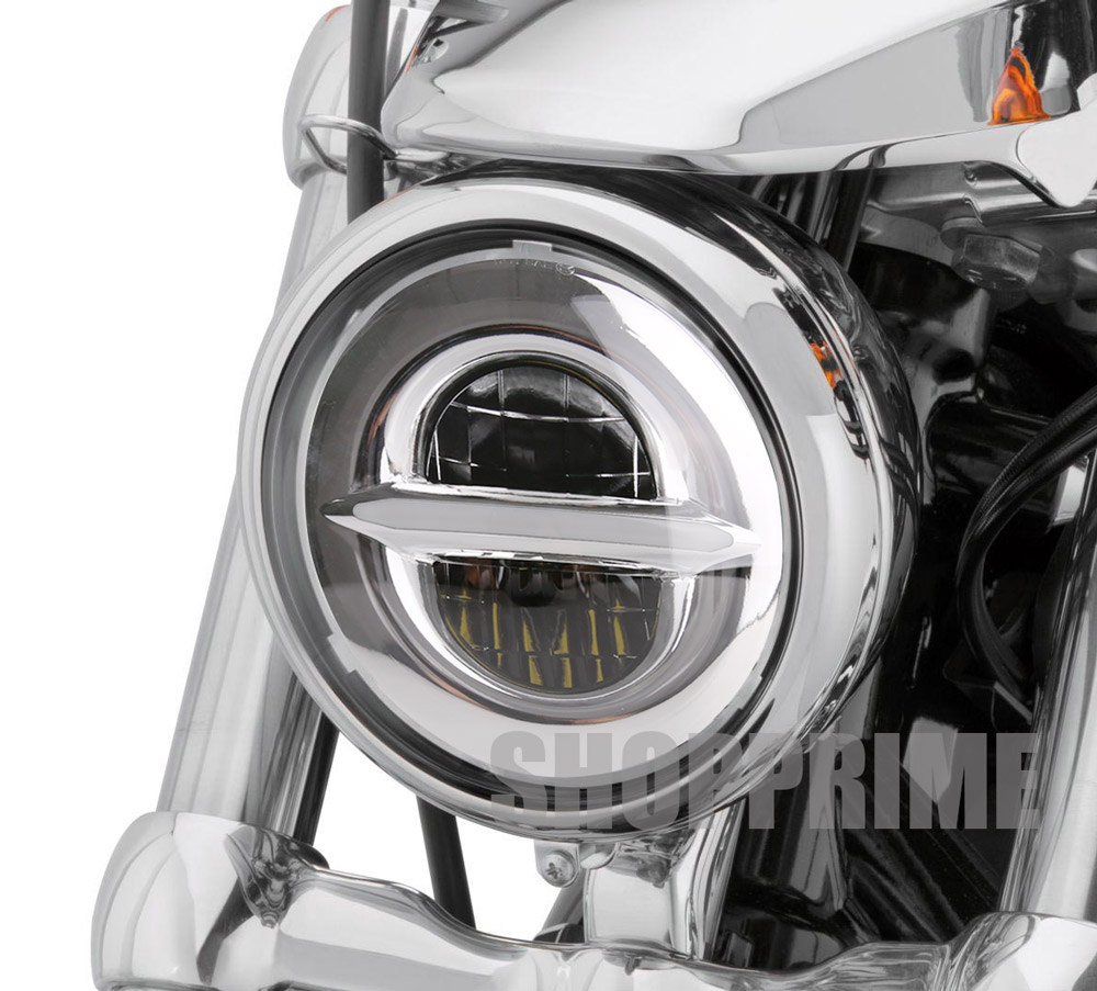 "New Style Chrome 5.75 Inch LED Headlight 5 3/4"" Led DRL 50W Motorbike Headlights For Harley Sportster 883 XL883 FXCW."