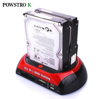 3.5 2.5 SATA IDE 2 Double Dock HDD Docking Station e SATA Hub External Storage Enclosure Parts EU plug