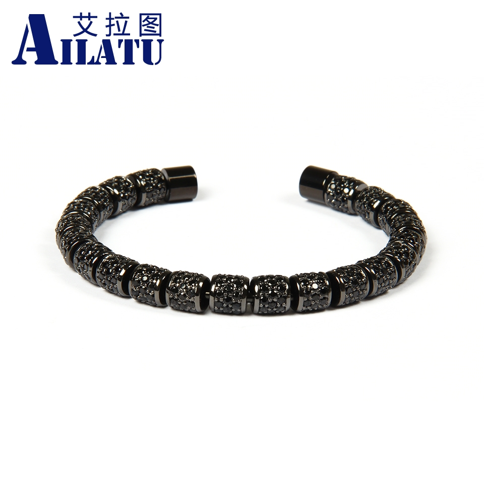 Ailatu Luxury Jewelry Full Black Cz Spacer Beads Stainless Steel Bangles for Men and Women s