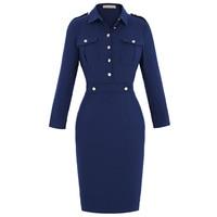 Elegant Bodycon Women Dress Business 2016 New Fashion Jacket Sheath Dress Office Lady Tunic Knee Length