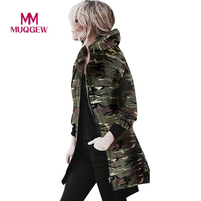 MUQGEW High Quality Womens Hooded Long Sleeve Coat Jacket Windbreaker Camouflage Outwear autumn winter coat women manteau femme(China)