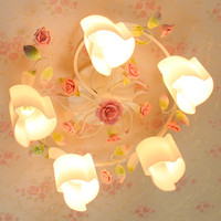 European style garden living room Romantic Restaurants white wrought iron pink ceramic flowers glass lampshade Ceiling Lamp c167