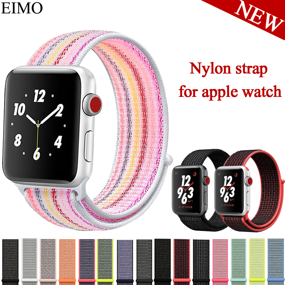 EIMO Nylon Weave loop Strap For Apple Watch Band 42mm 38mm Iwatch series 3/2/1 Sport wrist bracelet Watchband Accessories Belt sport silicone band strap for apple watch nike 42mm 38mm bracelet wrist band watch watchband for iwatch apple strap series 3 2 1