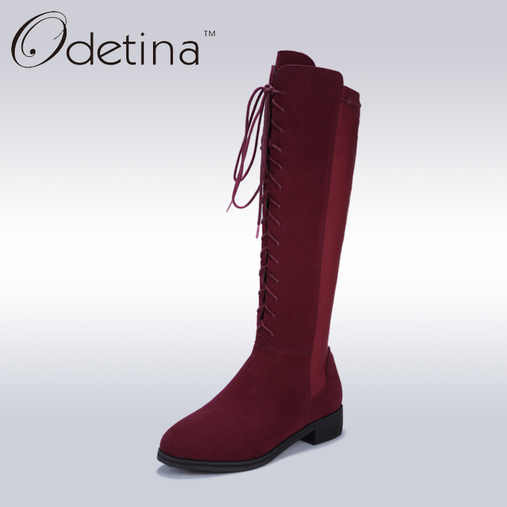 ФОТО Odetina Flat Knee High Boots Lace Up Genuine Leather Boots Women Winter Long Boots Fashion Bottes Femmes 2016 Botas Mujer Longas