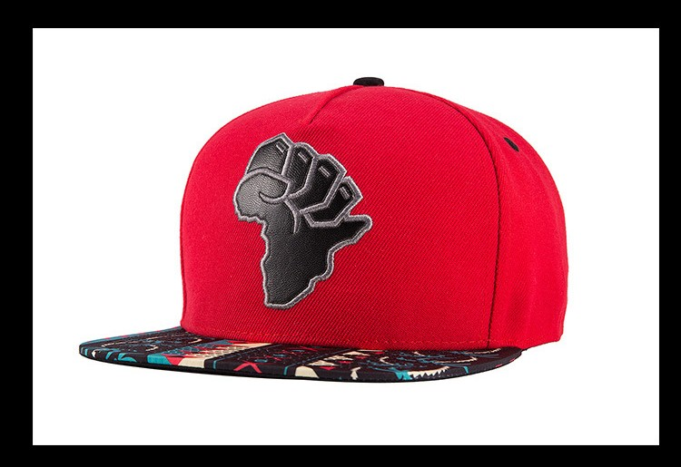 African Map Fist Snapback Cap - Angle View
