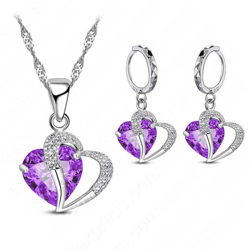 Luxus Frauen 925 Sterling Silber Cubic Zirkon Halskette Anhänger Ohrringe Sets Knorpel Piercing Schmuck Hochzeit Herz Design