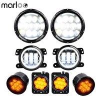 Marloo 105W 7 LED Headlights DRL + 4 Fog Lights Halo Ring + Front Fender & Grille Turn Signal Lamps For Jeep Wrangler JK JKU