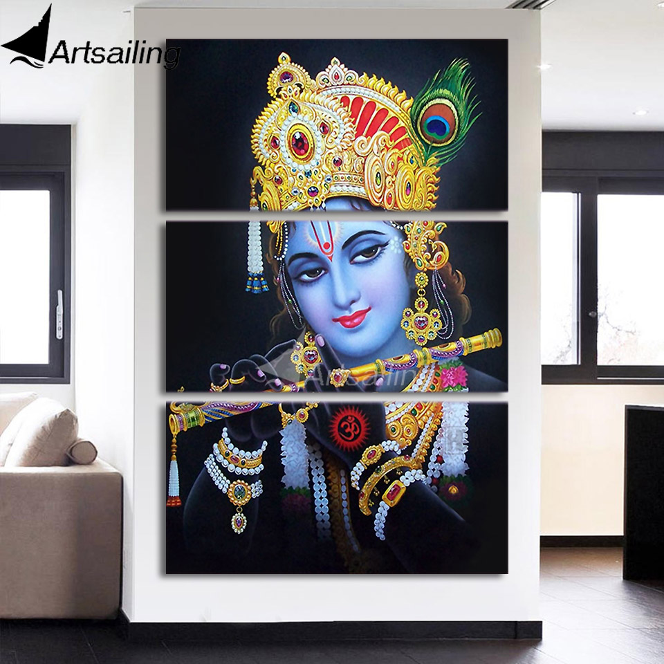 Aliexpress Com Buy Free Shipping 3 Piece Wall Decor: Aliexpress.com : Buy 3 Piece Canvas Art Radha Krishna
