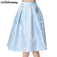 12 OAKS OF KATY Europe And America Women Fashion Fresh Pink Blue A Line Skirt High