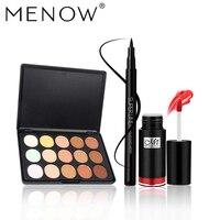 High Quality Makeup Set Women Waterproof Long Lasting Lip Gloss Lipstick 15 Colors Cottect Liquid Eyeliner