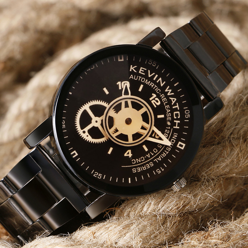 KEVIN 2017 Luxury Black Mens Watches Fashion Stainless Steel Sport Male Quartz Wristwatch Male Relogio Masculino erkek kol saati ysdx 398 fashion stainless steel self stirring mug black silver 2 x aaa