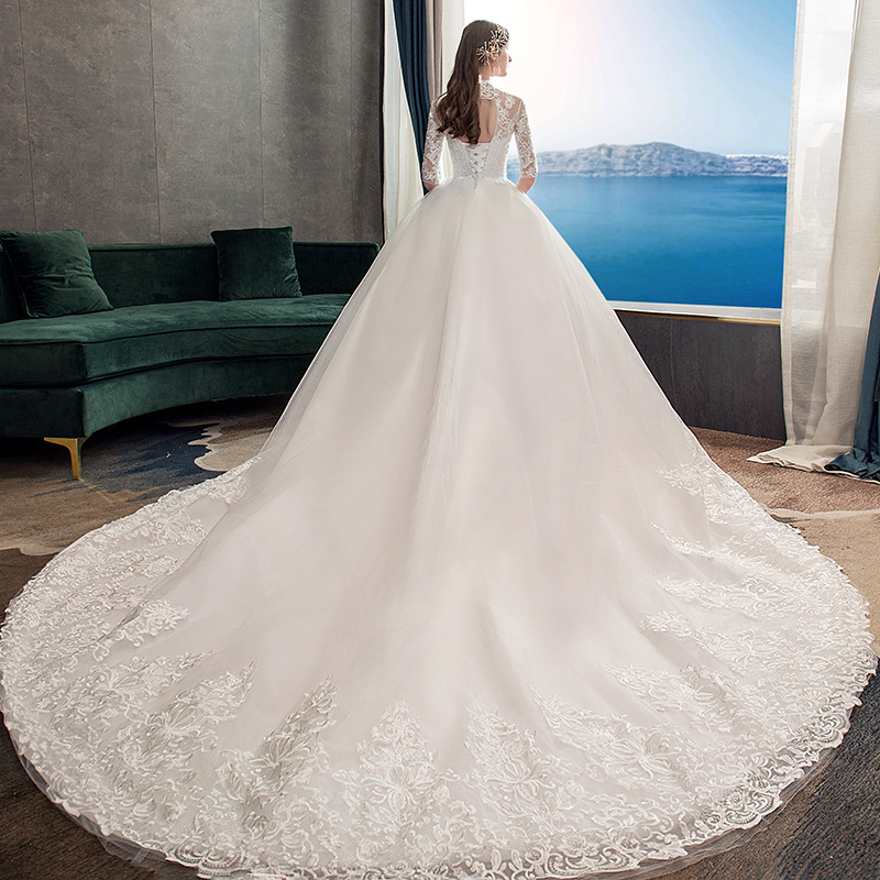 Image 5 - 2019 New High Neck Half Sleeve Wedding Dress Sexy Illusion Lace  Applique Simple Slim Custom Made Bridal Gown Robe De Mariee LWedding  Dresses