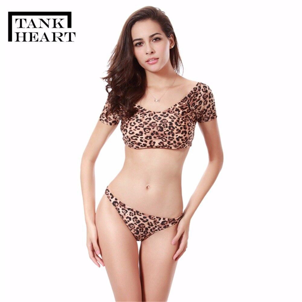 9f50c35aab Tank Heart Sexy Leopard Print plus size Swimwear Women Swimsuit Micro Bikini  Set bathing suit Biquini monokini saida de praia-in Bikinis Set from Sports  ...