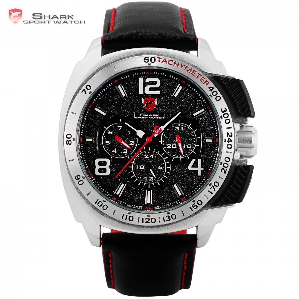Tiger SHARK Sport Watch Brand Silver Case Date Function Leather Band Men Watches Casual Quartz Movement Luxury Wristwatch /SH418