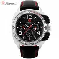 Tiger SHARK Sport นาฬิกายี่ห้อ Silver Case วันที่หนังผู้ชายนาฬิกา Casual Quartz นาฬิกาข้อมือหรู/SH418