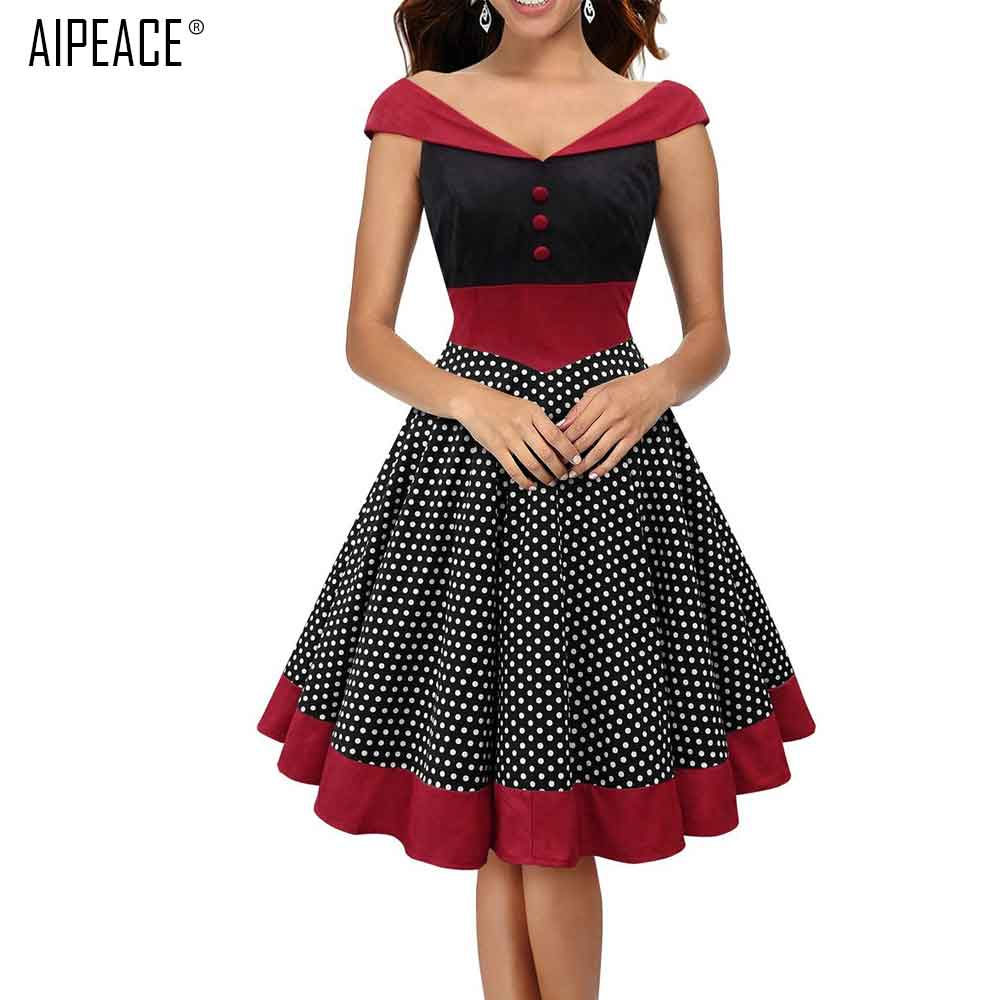 AIPEACE Women <font><b>Dress</b></font> Retro Swing Gown Dot Pinup Robe <font><b>Vintage</b></font> Rockabilly <font><b>Sexy</b></font> Ball Party Fashion Cloth Lady Sleeveless <font><b>Dresses</b></font> image
