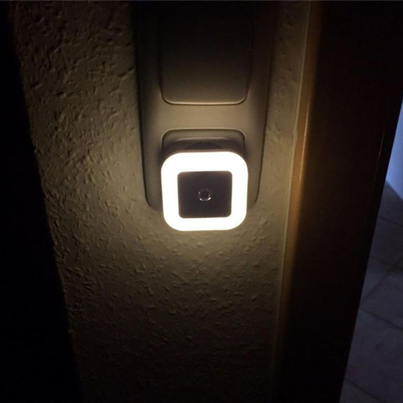 Light Sensor Control Night Light Mini EU US Plug Novelty Square Bedroom Lamp For Baby Gift Romantic Colorful Lights Stair Lamp colorful led night light sensor control square bedroom wall lamp eu us uk plug mini night lamp child creative gift home decor