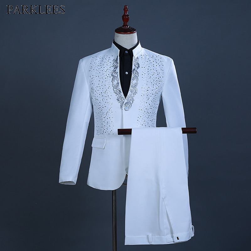 White Embroidered Diamond Suit Men Wedding Groom Tuxedo Suits Mens Stand Collar Prom Stage Costume Mens Suits With Pants Ternos