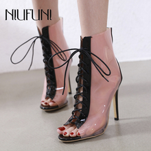 Plus Size Women's Peep Toe Boots Spring And Autumn Ankle Strap Boots Transparent Women Stiletto High Heel Boots Mujer Rain Boots women spring autumn peep toe with tassel ankle boots ankle lace up flock fringe women spring autumn peep toe ankle boots