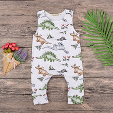 Summer Jumpsuit Tiny Cottons Dinosaur White Onesie Sleeveless Unisex Rompers Baby Girl Toddler Kid Newborn Girls Boys 3-18M(China)