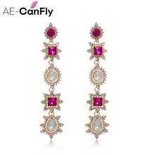 AE-CANFLY Trendy Elegant Vintage Rhinestone Dangle Colorful  Crystal Long Drop Earrings Women Party or New Years Gift