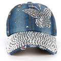 2016 High Quality Luxury 100% Manual Drill Women's Fashion Caps Diamond Butterfly Pattern Girls Summer Denim Baseball Caps SY551