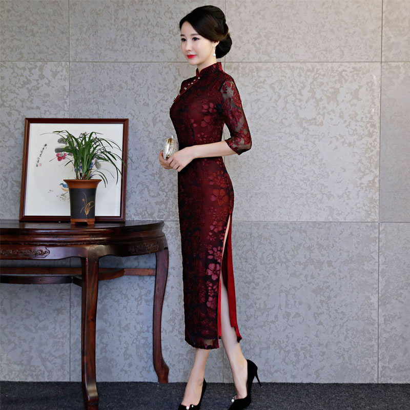 67b56d4fa80 ... Women Satin Cheongsam Traditional Chinese Dresses Lace Evening Party  Qipao Dress for Lady Design Vintage Flower ...