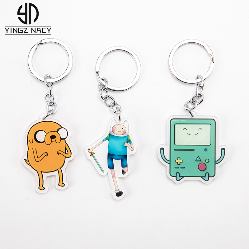 Anime Adventure Time Keychain Adventure Time With Finn And Jake Beemo BMO Cute Cartoon Acrylic Animal Key Chains For Kids Women