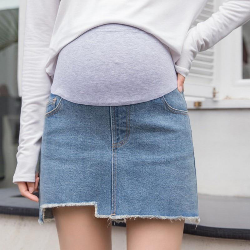 Summer Denim Maternity Skirt Stomach Lift Pregnancy Skirt Irregular Brushed Hem A-line Have Lined Jean Skirts Pregnancy Clothes