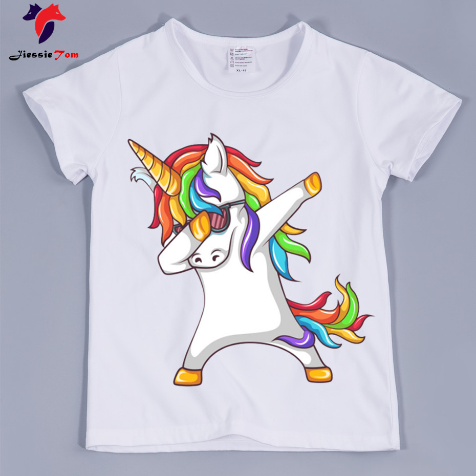 Best Quality,Kid's Dabbing Unicorn Funny T-shirts 2018 Summer Children White Soft Graphic T Shirt Baby Clothing Boy and Girl Top цена 2017
