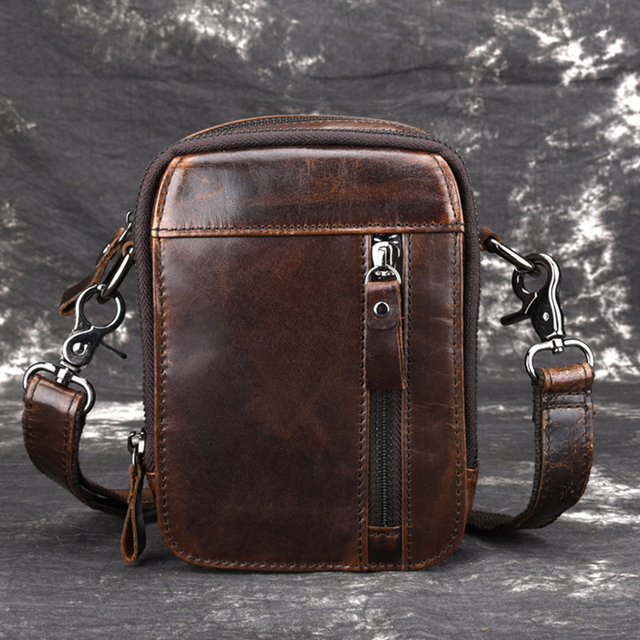cd2daa1c97 Oil Wax Cowhide Men s Hip Belt Hook Waist Fanny Bags Genuine Leather Purse  Vintage Male Sling Messenger Crossbody Shoulder Bag