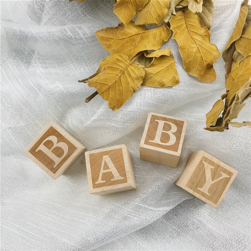 4Pcs Rustic Natural Nursery Blocks Baby Girl or Boys Decor Christmas Kids Gifts Toys