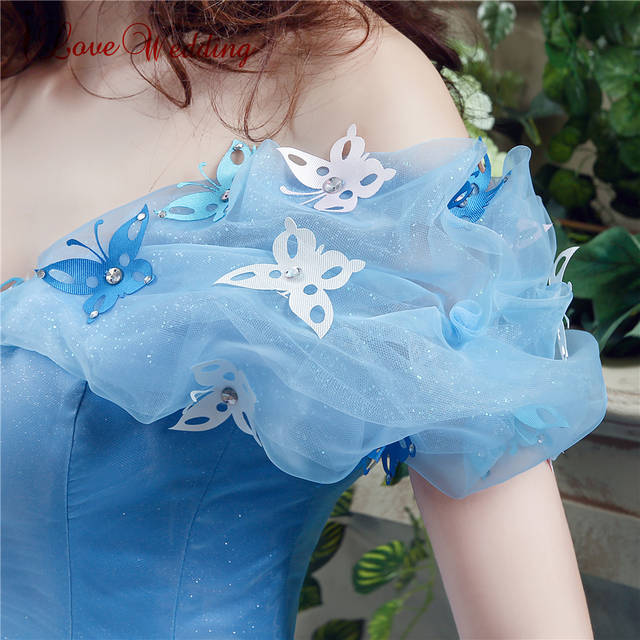 f7abf43277414 US $85.5 5% OFF|2019 Blue Ball Gown Prom Dress New Movie Princess  Cinderella Cosplay Dress Off The Shoulder Organza Long Prom Gown-in Prom  Dresses ...