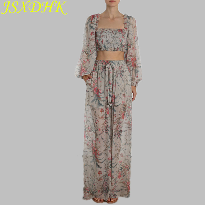 JSXDHK Runway Summer 2 Piece Pant Set Sexy Chiffon Flowers Print Short Crops Women Pant Suits + Holiday Wide-Leg Trousers Suits
