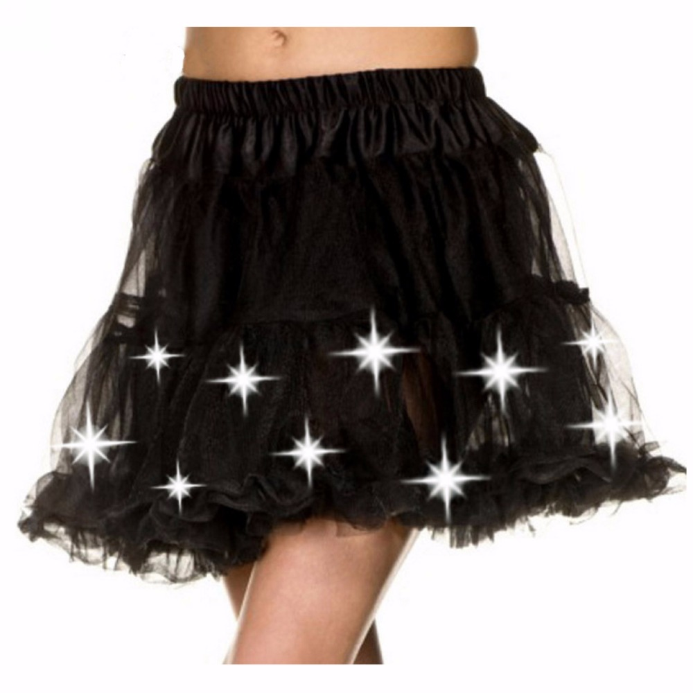 MOONIGHT Women's Led Pettiskirt Mini Skirt Female Sexy Mini Tutu Skirts Led Decoration Belly Dance Wear Clothing Skrit