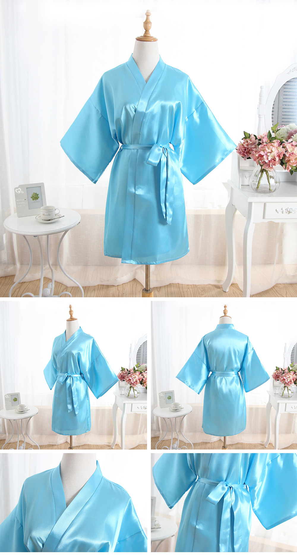 Women Robes Silk Summer Bayan Gecelik Sexy Sleepwear Nightgown Ladies Pajamas Kimono Female Pajama High Quality