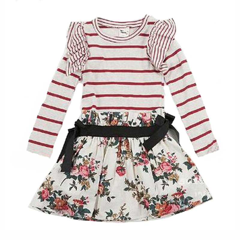 Baby girl dress stripe autumn 2016 little frock long sleeve fall kids dresses for baby fashion brand kid clothes