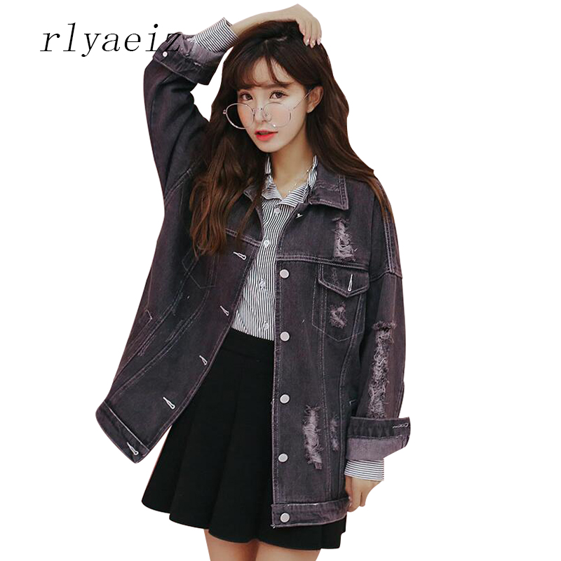 RLYAEIZ Denim   Jacket   Women 2017 Fashion Hole Jeans   Jacket   Overcoat Vintage Turn-down Collar Loose Black   Basic     Jackets   Clothing