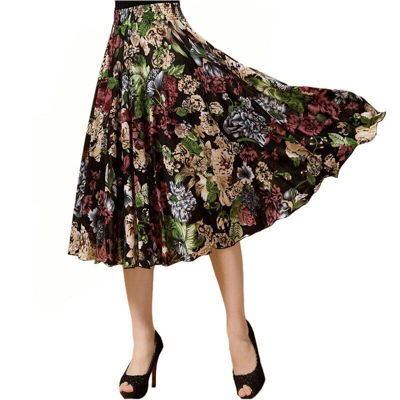 Summer Skirt Casual Beach Wind Large Size Elastic Waist Ice Silk Sundress Dance Skirt A Line Skirt