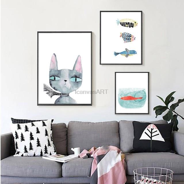 Aquarell Katze Fisch Poster Skandinavischen Leinwand Malerei Für Kinder  Zimmer Nordic Wand Kunst Bild Drucken Moderne Wohnkultur Keine Rahmen